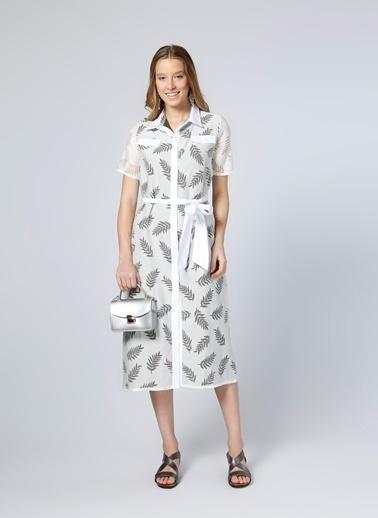 Fabrika Kısa Kollu Desenli Midi Elbise Beyaz